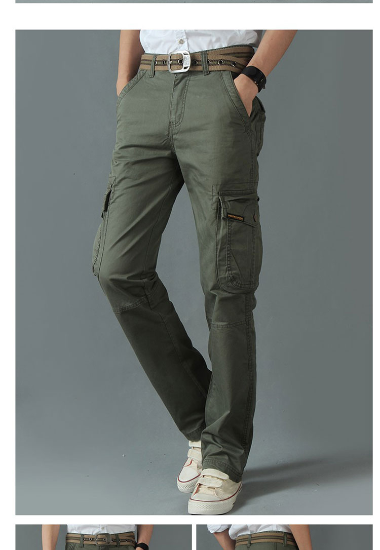 KSTUN New Men's Cargo Pants Casual Overalls 100% Cotton Straight Cut Male City Military Tactical Pants Men Loose Fit Trousers No Belt 19