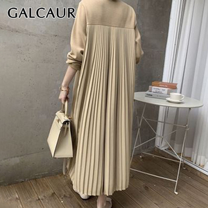 GALCAUR Thick Dress For Women O Neck Long Sleeve Patchwork Ruched Loose Oversized Korean Dresses Female 2020 Autumn Clothing New