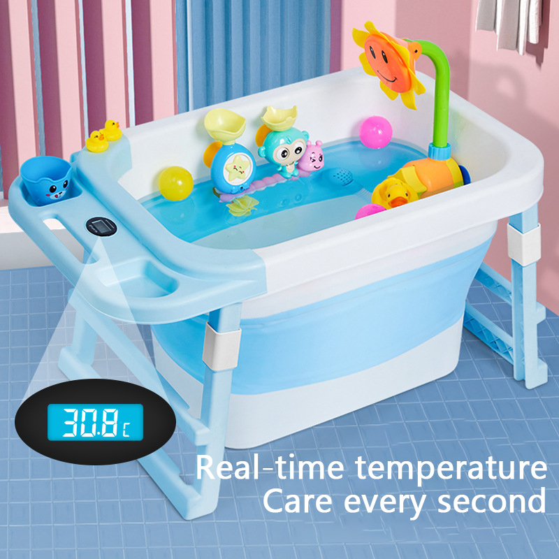 Portable Bathtub Temperature Sensor Baby Tub Folding Bath Barrel Child Bathtub Swimming Barrel Home Large Newborn Can Sit