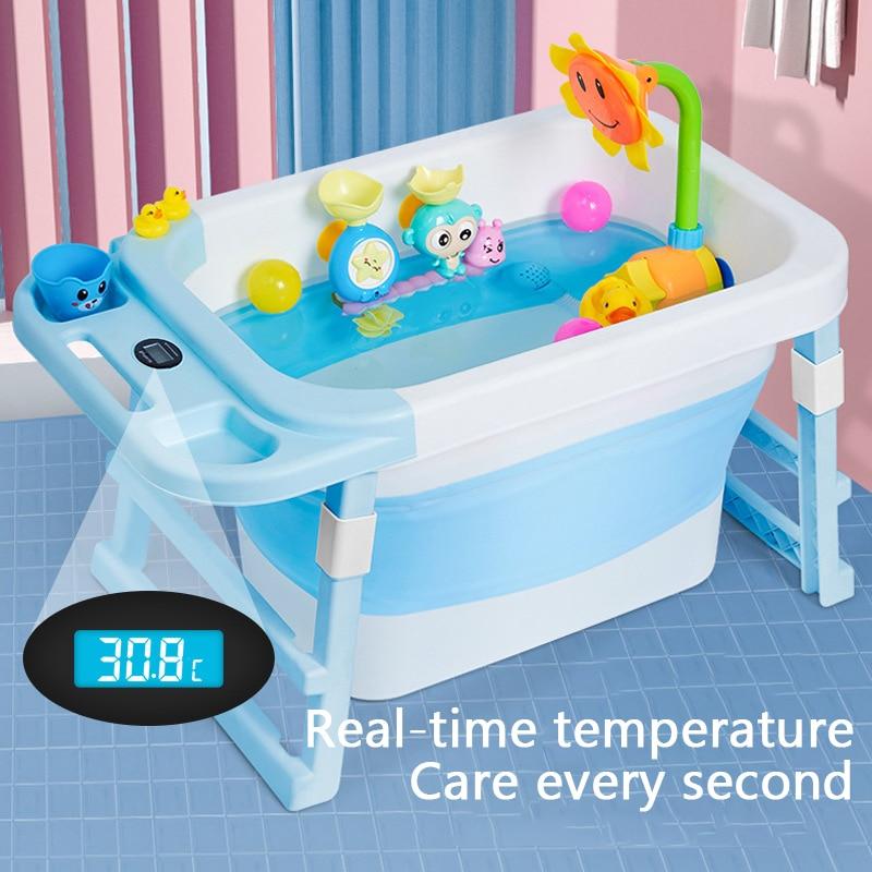 Portable Bathtub Temperature Sensor Baby Tub Folding Bath Barrel Child Bathtub Swimming Barrel Home Large Newborn Can Sit