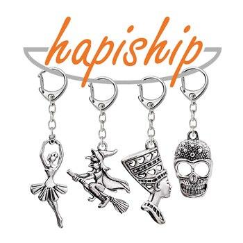 Hapiship 2018 llaveros hechos a mano a la moda para mujeres y hombres, llaveros alienígenas de chica bruja, regalos colgantes de aleación YSCA23