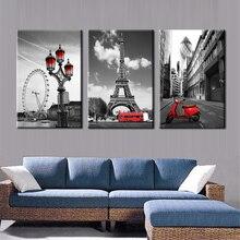 Póster impreso imágenes modulares 3 paneles rojo motocicleta negro y blanco Fondo lienzo pintura Vintage pared arte decoración del hogar