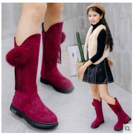 Giữ Ấm Bé Gái Ủng Với Bowtie Mới Shorha Ấm Giày Trẻ Em Giày Mùa Đông Giày Dành Cho Trẻ Em Cotton Cao Cấp- đệm Lót Bé Gái Giày
