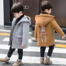 Детское длинное шерстяное пальто осенняя верхняя одежда для мальчиков Детская Зимняя шерстяная ветронепроницаемая куртка Тренч с капюшоном для студентов B328