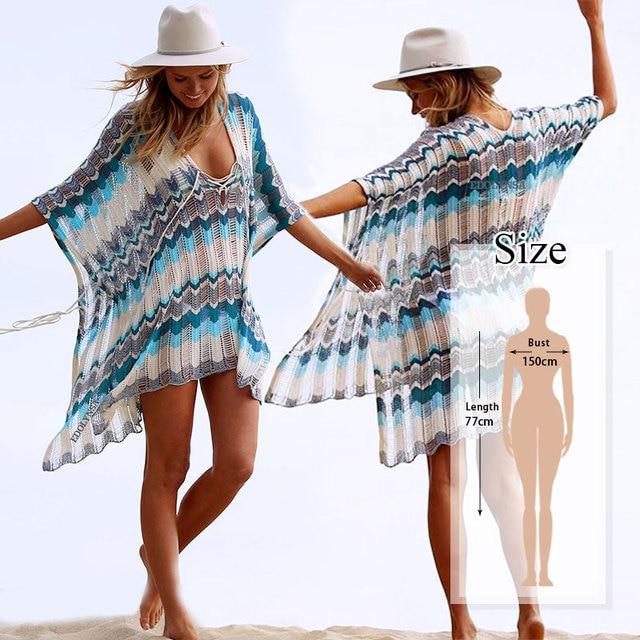 Oversize Crochet Sarong Kaftan Beach Tunic 8