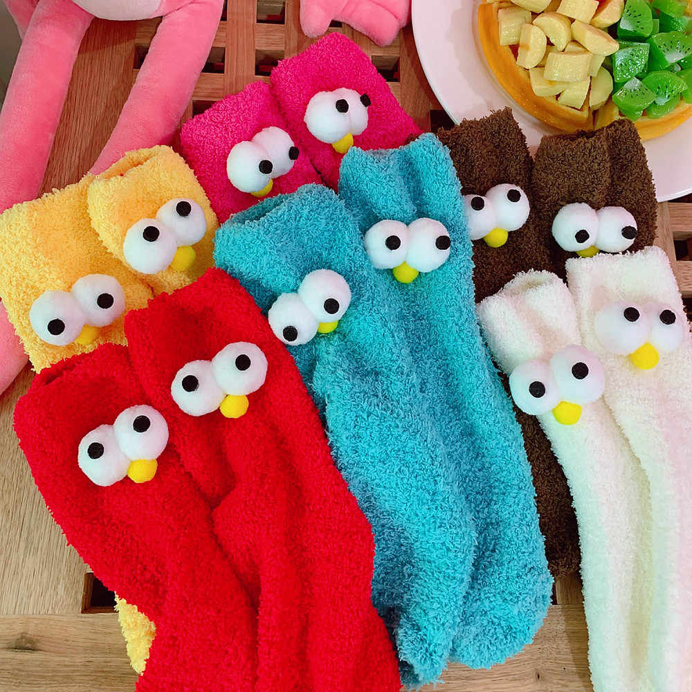 Women Cozy Cashmere Socks Winter Warm Sleep Bed Socks Floor Home Fluffy Funny Big Eyes Socks Velvet Warmer Christmas Gifts