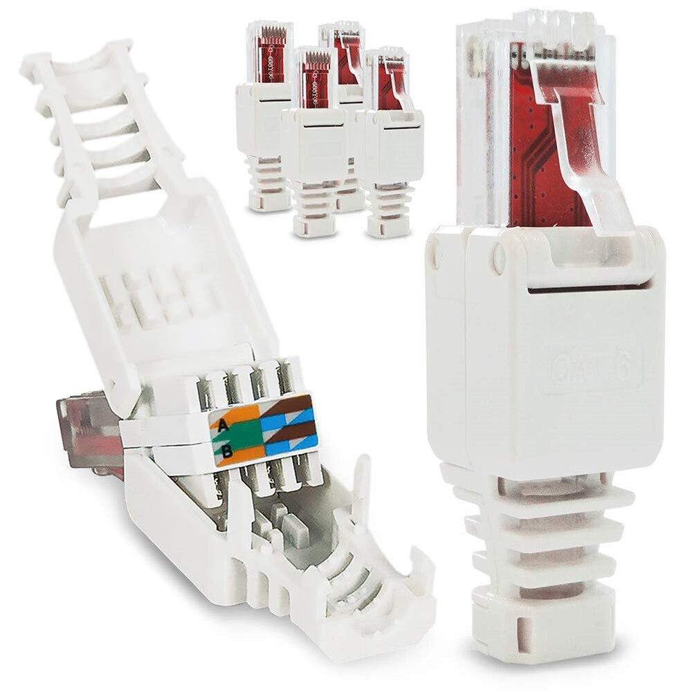No Crimp Connectors Ethernet Cable Tool-less Crystal Head Plug CAT6 RJ45 Connector