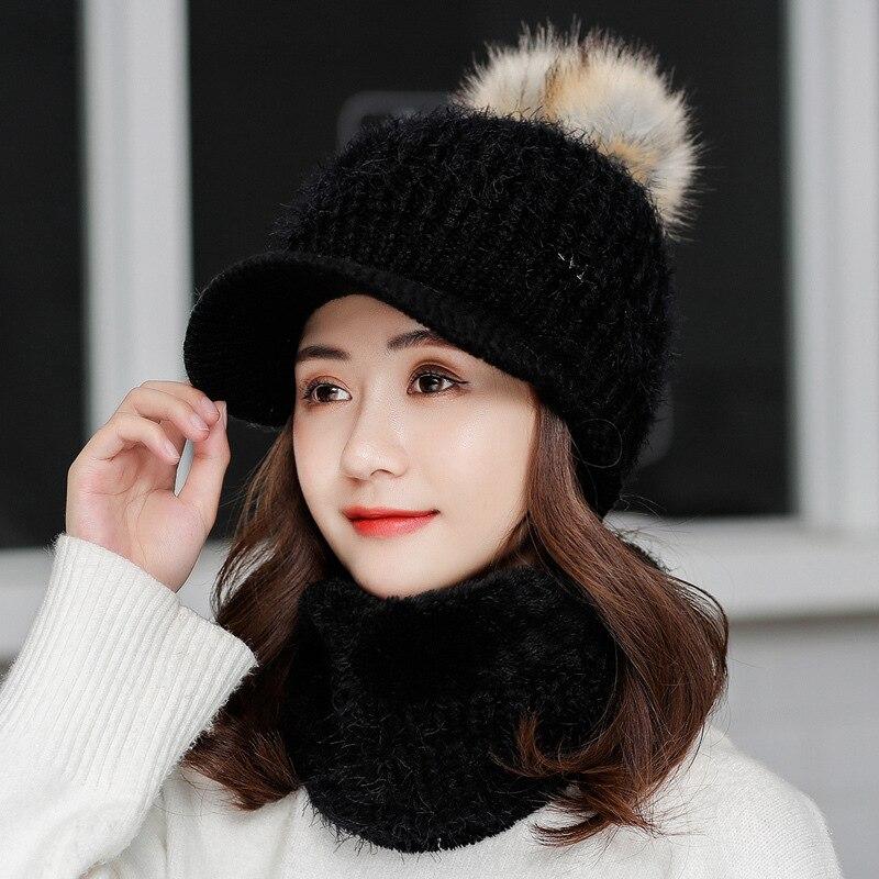 Fashion Winter Hat Scarf Set For Women Kitted Thicken Warm Hat Women Men Unisex Pom Poms Ball Hat For Girls Boys
