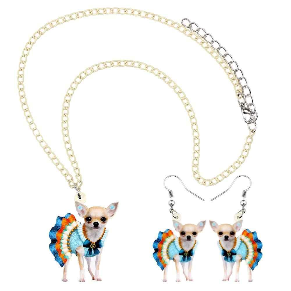 Bonsny Acrylic ชุดสีฟ้า Chihuahua สุนัขต่างหูสร้อยคอต่างหูชุดเครื่องประดับเด็กน่ารักตกแต่ง Charm ของขวัญ
