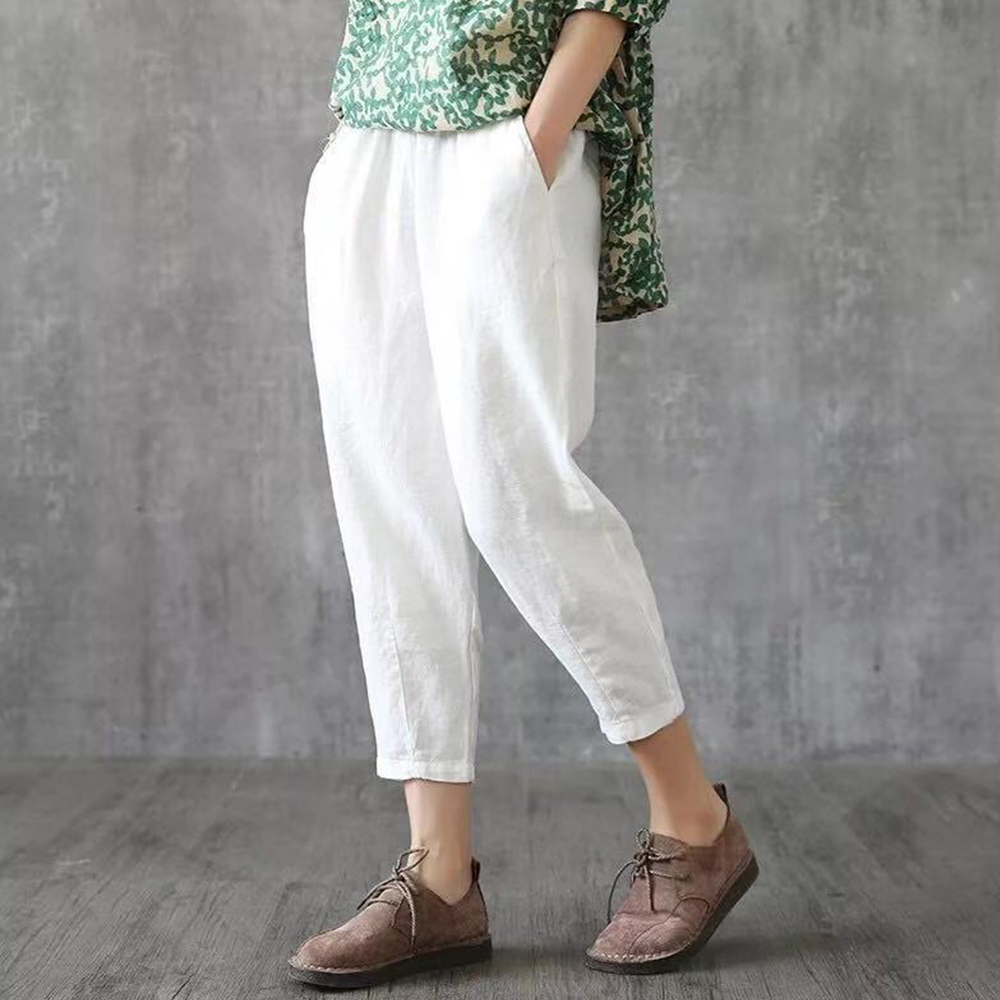 2020 Summer Women Solid Harem Pants Elastic Mid-Waist Pockets White Trousers 4XL Plus Size Loose Ankle-Length Pants For Women