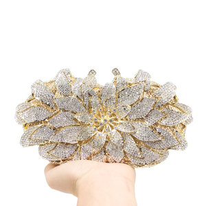 Image 4 - Boutique De FGG bolsos De mano De noche con cristales deslumbrantes para mujer, estuche rígido De Metal, para boda, fiesta, flor, bolso De mano, monedero