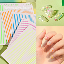 Get more info on the new 1 Sheet 3D  Nail Art Stickers bright colorful Stripe Lines shape Nails Stickers for Nails Sticker Decorations Manicure Z0213