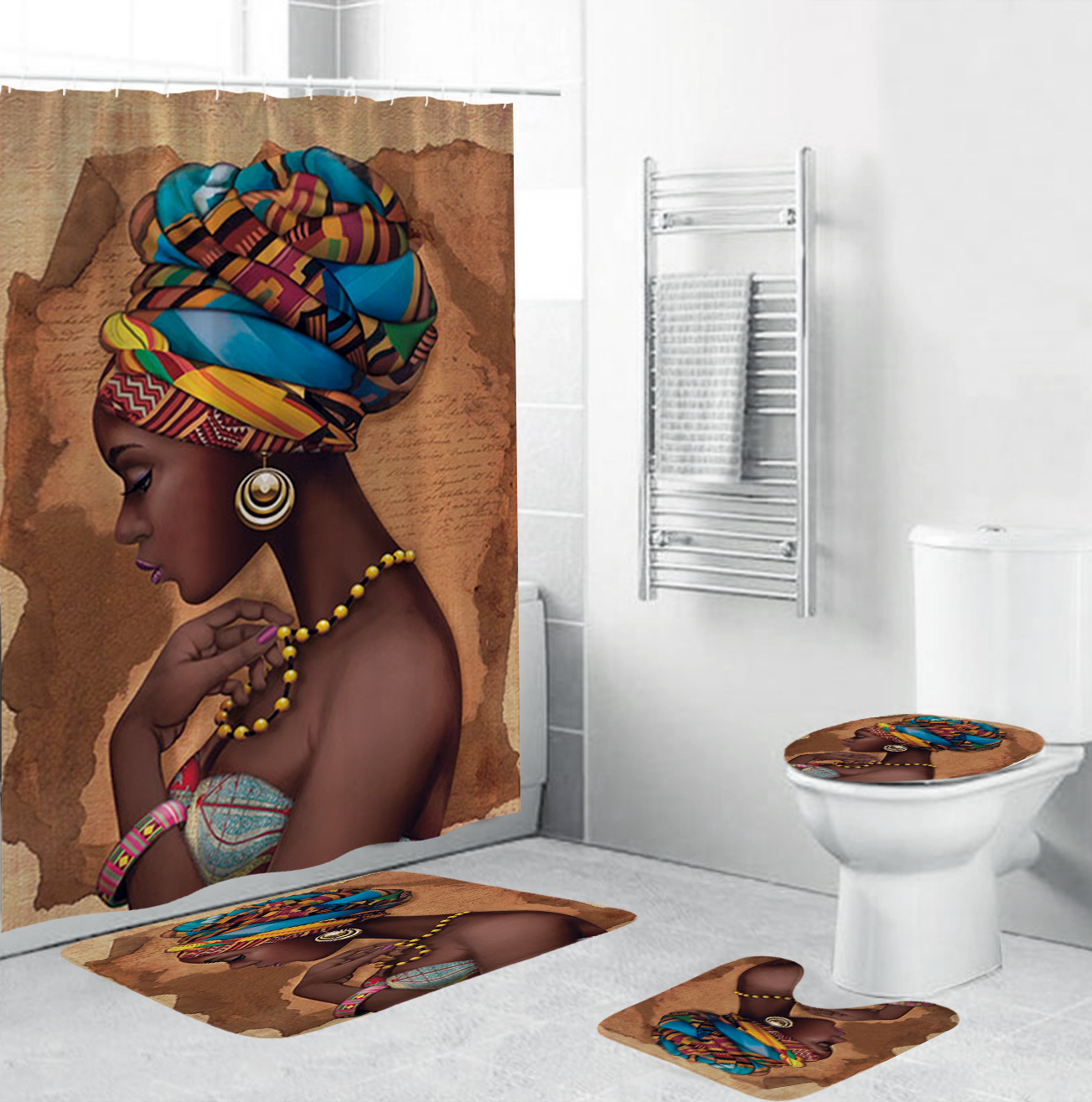 African American Women Shower Curtains Polyester Waterproof Afro Bathroom Curtain Set Anti-skid Rugs Toilet Lid Cover Bath Mat