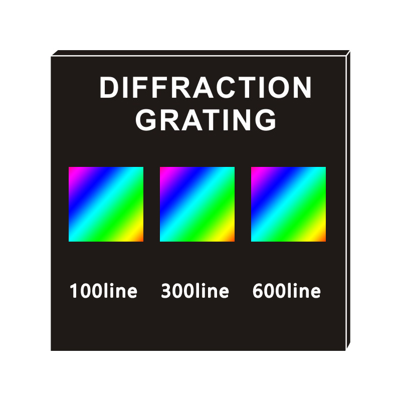 Diffraction Transmission Grating, 100/300/600 Line Three-in-One Teaching Demonstration Optical Instruments-Optical 50x50