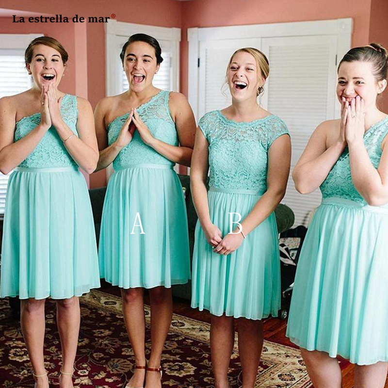 Plus size vestidos dama de honor boda new lace chiffon 2 style A Line turquoise   bridesmaid     dress   short wedding guest gown