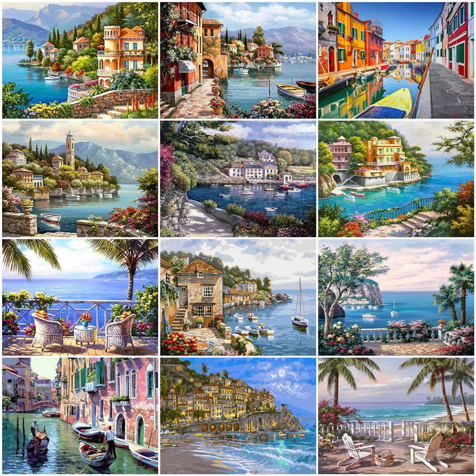 AZQSD Oil Painting By Numbers Venice Landscape DIY Unframe Handpainted Gift Coloring By Numbers River Home Decoration