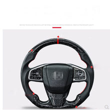 Car accessories Customized Real Carbon Fiber LED Steering Wheel compatible For Honda Civic 2018-2020