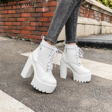 Купить с кэшбэком Lace Up Cross Tied Platform High Heels Ankle Boots for Women White Black Blue Block Heel Shoes Punk Gothic Combat Boots YMA895