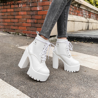 Lace Up Cross Tied Platform High Heels Ankle Boots for Women White Black Blue Block Heel Shoes Punk Gothic Combat Boots YMA895