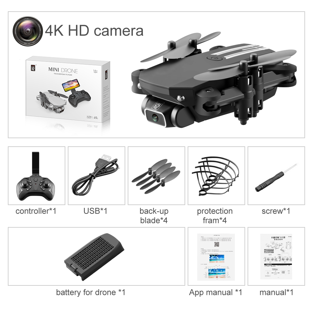 2020 New Mini Drone 4K 1080P HD Camera WiFi FPV Air Pressure Height Maintenance, Portable Foldable Quadrotor drone Children Toy