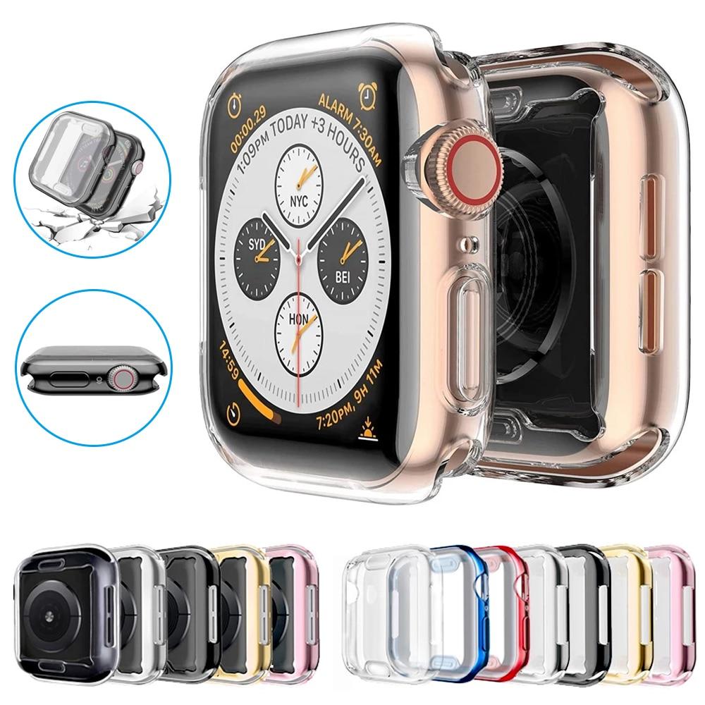 Тонкий чехол для часов 360, чехол для Apple Watch 6 SE 5 4 3 2 1 42 мм 38 мм, мягкая прозрачная защитная пленка из ТПУ для iWatch Series 5 44 мм 40 мм