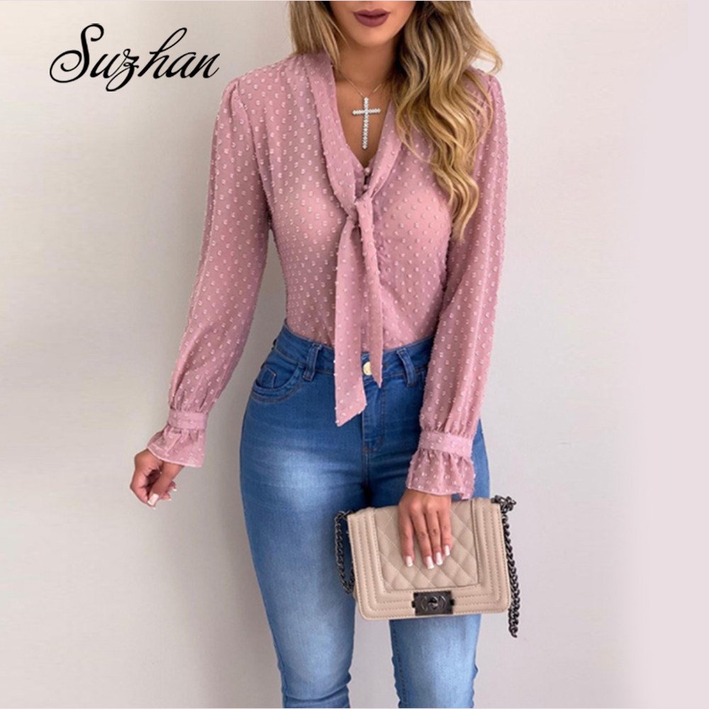 Suzhan Women Blouses Fashion Long Sleeve V-neck Shirt Chiffon Office Blouse Slim Casual Tops