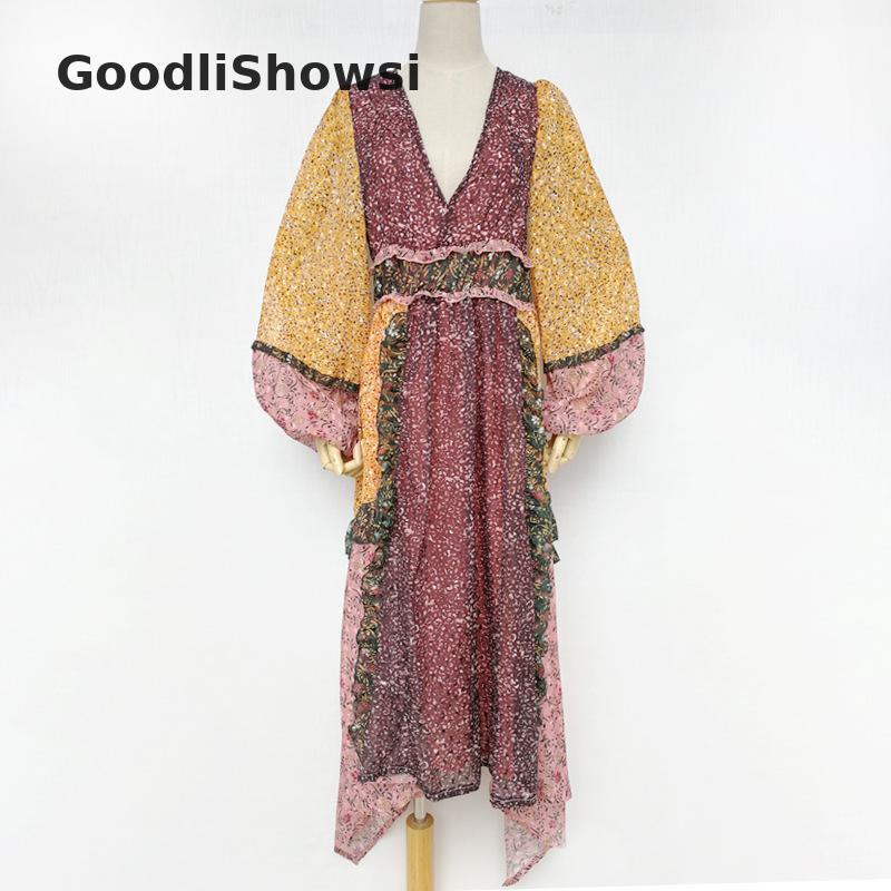 GoodliShowsi pastorale robe de vacances Sexy col en v profond bouffant lanterne manches volants robes florales robe asymétrique pour femmes