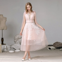 legant v neck tea length lace tulle pink formal party evening gown prom dress