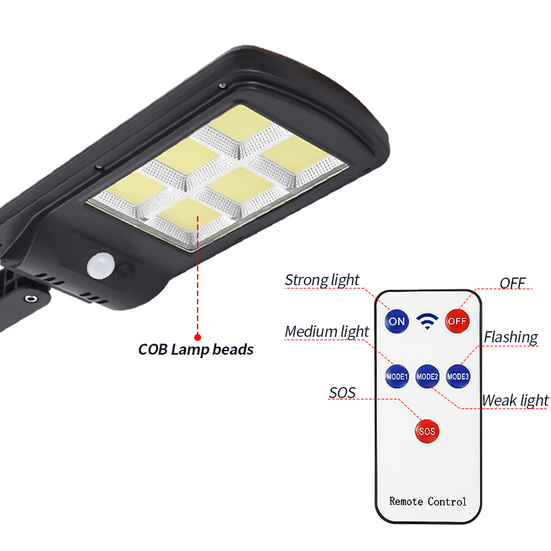 cheapest 300W Outdoor Solar LED Street Light IP65 waterproof Wall Lamp Remote Control Upgraded COB lamp Industrial Garden Square Highway