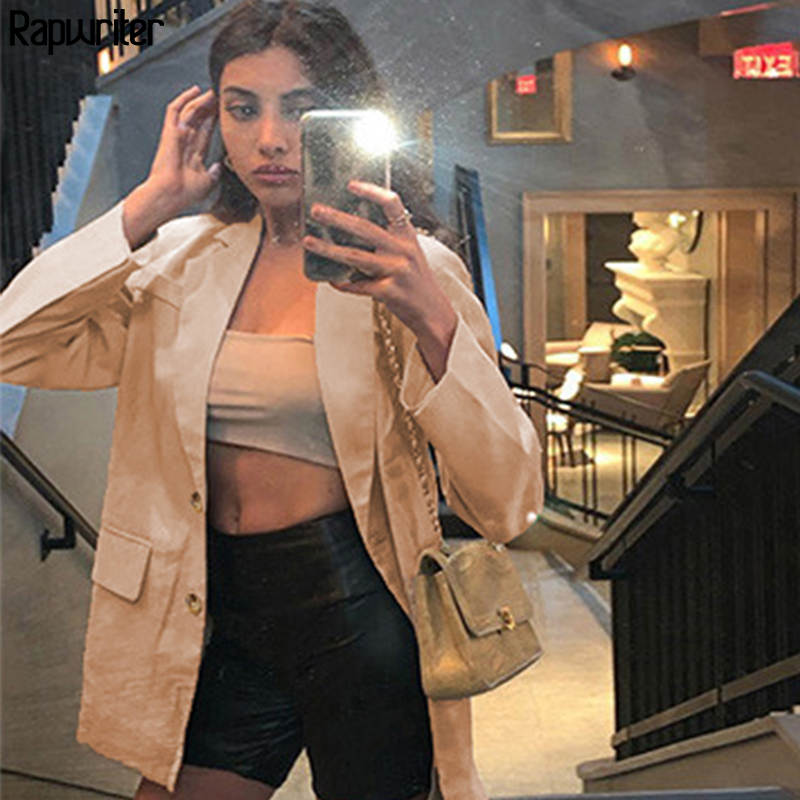 Streetwear Single-Breasted Solid Long Suit Blazer Jacket Women Long Sleeve 2020 Notched Collar Autumn Casual Coat mujer feminino