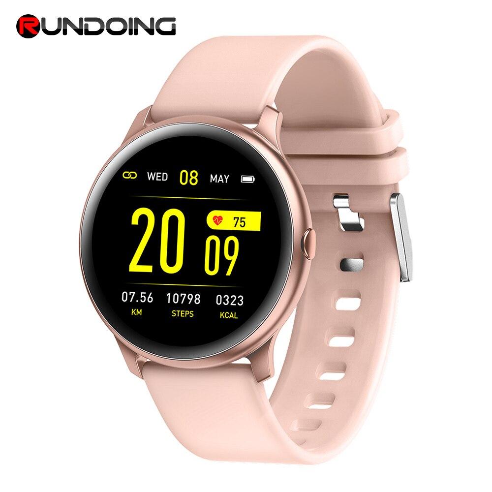 RUNDOING KW19 Mulheres relógio Inteligente À Prova D' Água pulso de oxigênio No Sangue monitor de freqüência cardíaca Homens esporte smartwatch para IOS e Android