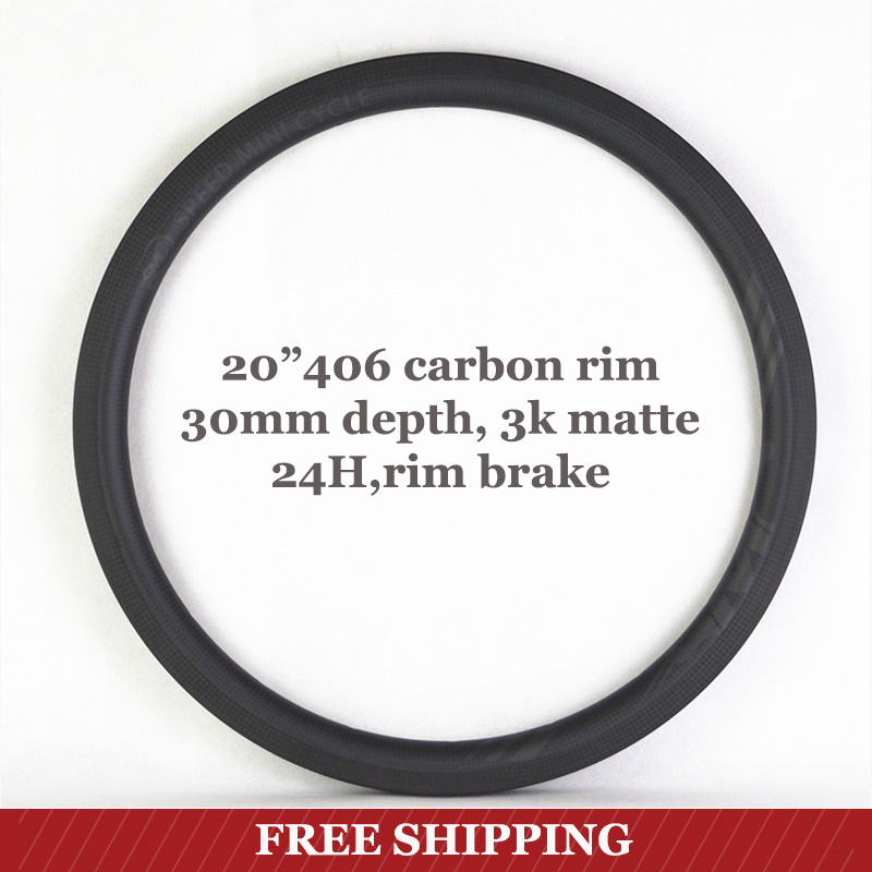 <font><b>20</b></font> inch 406 Carbon Rim Depth 30mm Width 25mm Full Carbon <font><b>Wheel</b></font> Road Bike <font><b>BMX</b></font> <font><b>Wheels</b></font> Mini In Stock SMC Speed Mini Cycle image