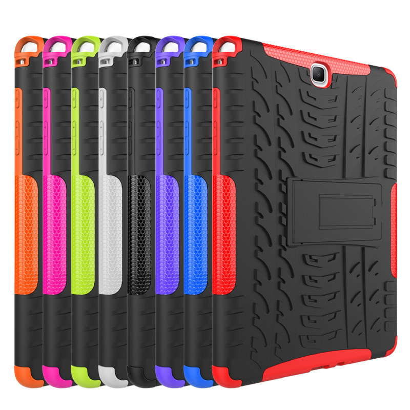 Hybrid Stand Hard Silicone Rubber Armor Tablet Case For Samsung Galaxy Tab A 9.7 T555 T550 SM-T555 SM-T550 P550 Anti-Knock Cover