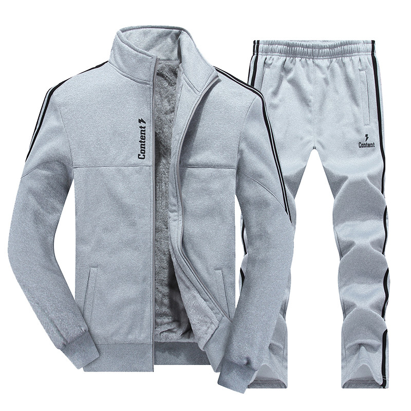 New Winter Men's Sets Plus Velvet Men Sport Suits Sportswear Set Fitness Warm Tracksuit Zip Pocket Male's Casual Clothing