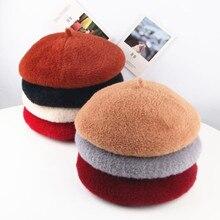 Модный дешевый Зимний берет из кроличьего меха, шапка для женщин, вязаная шапка, Модный берет для взрослых девушек, одноцветная Модная женская шапка