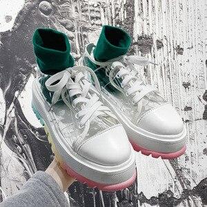 Летние женские массивные кроссовки из ПВХ; Повседневная обувь для папы; Кроссовки на платформе; Прозрачные кроссовки на толстой подошве с д...