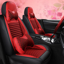 Full Coverage PU Leather car seat cover flax fiber auto seats covers for peugeot 308 408 508 4007 4008 508 sw(China)