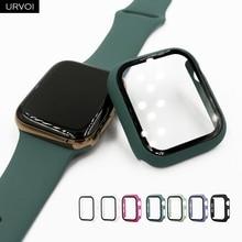 URVOI полное покрытие для Apple Watch series 5 4 3 2 матовый пластиковый бампер жесткий чехол рамка со стеклянной пленкой для iWatch защита экрана