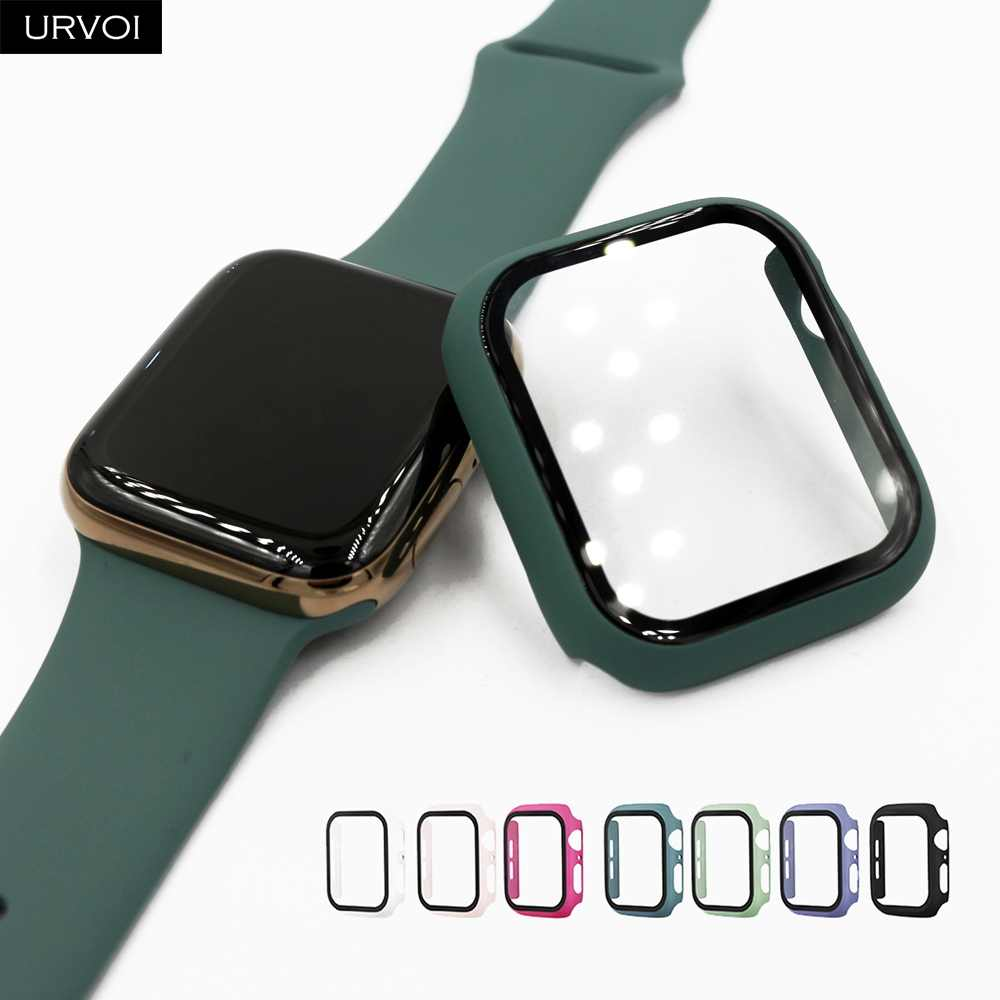 URVOI Full cover for Apple Watch series 5 4 3 2 matte Plastic bumper hard frame case with glass film for iWatch screen protector