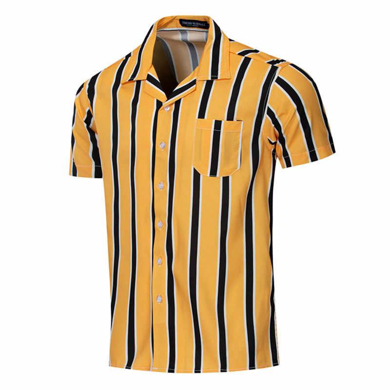 2020 estate camicia A Righe Verticali Camicia Degli Uomini Del Cotone Camicette Casual Button-Imbottiture Vestito Manica Corta Hombre Bowling uomo Camicette, FM56002