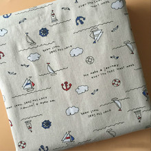 Beige Cotton Linen Fabric Cloud Printing DIY Sewing Quilting Canvas Cloth Pillowcase Material Width 150cm