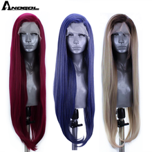 Anogol Blue Red Pink Grey Black White Blonde Synthetic Lace Front Wigs Long Natural Straight for Women High Temperature Fiber