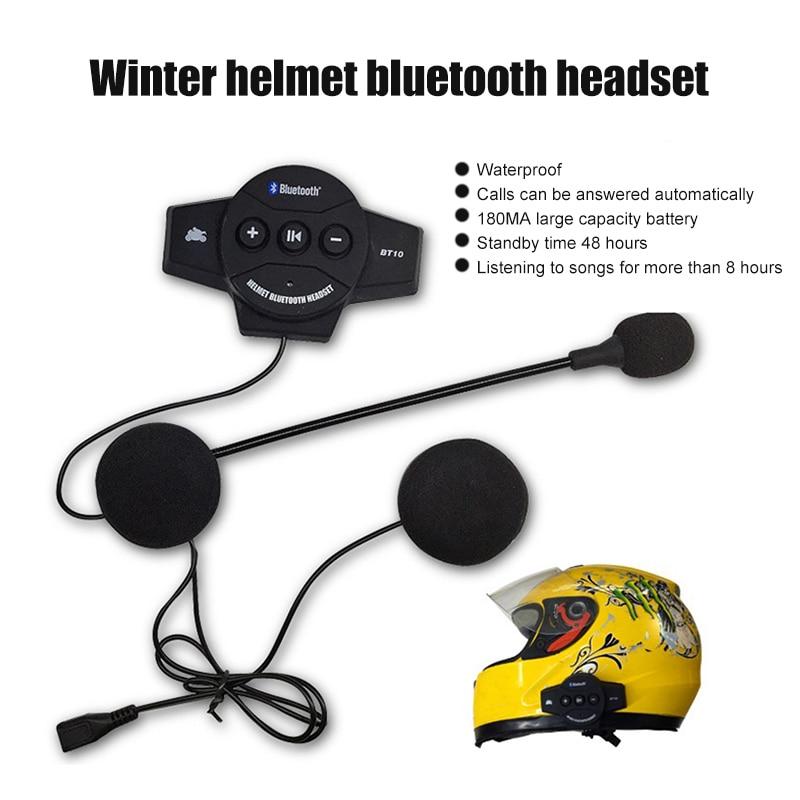 2019 BT10 Motor Wireless Bluetooth Headset Motorcycle Helmet Earphone Headphone Speaker Intercom Handsfree Music Microphone
