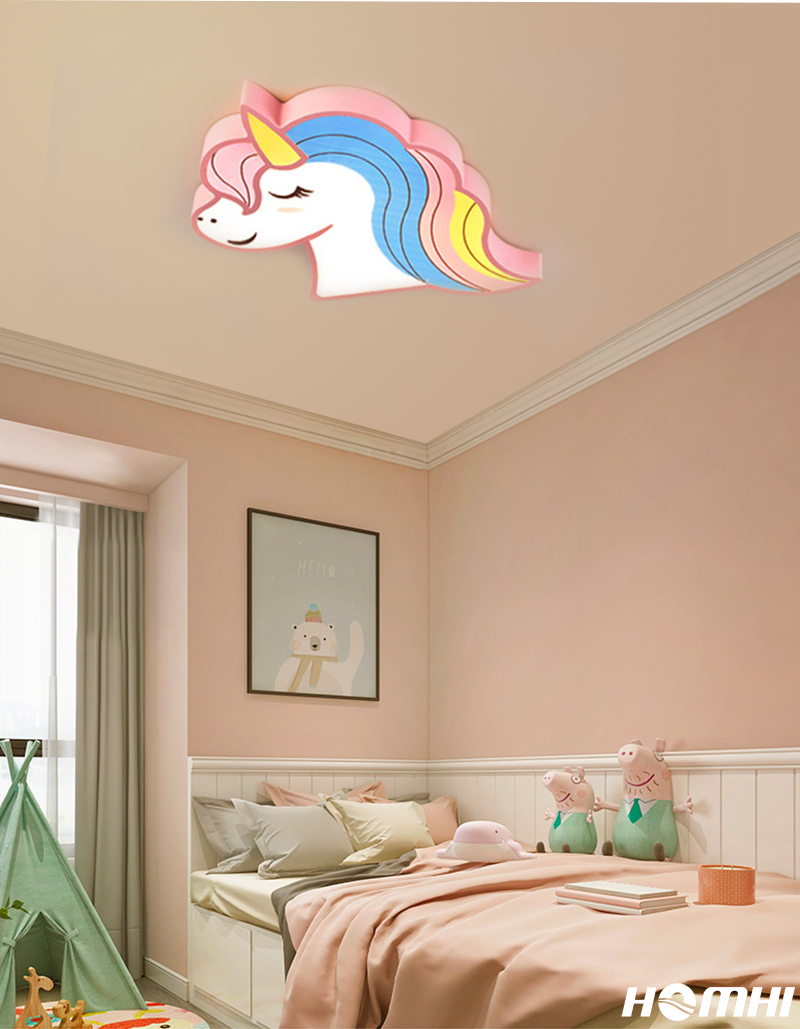 He794d79753b64fdfbaca0551a82130f7H Unicorn kids room light led ceiling lights with remote control cartoon lampshade children room cute ceiling lamp deco child room