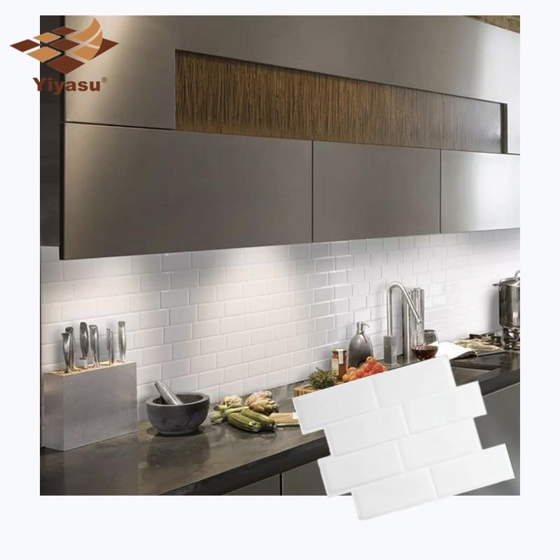 Autocollant Mural En Vinyle 3d Pour Le Revetement De Carreaux De Sous Sol En Brique Blanche Auto Adhesif Decoration Murale Cuisine Salle De Bain Maison Bricolage Aliexpress