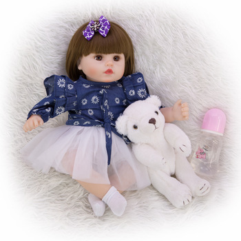 45CM reborn toddler girl doll in fashion dress 3/4 silicone and cotton realistic baby Diy dress up doll toy for children Funny g