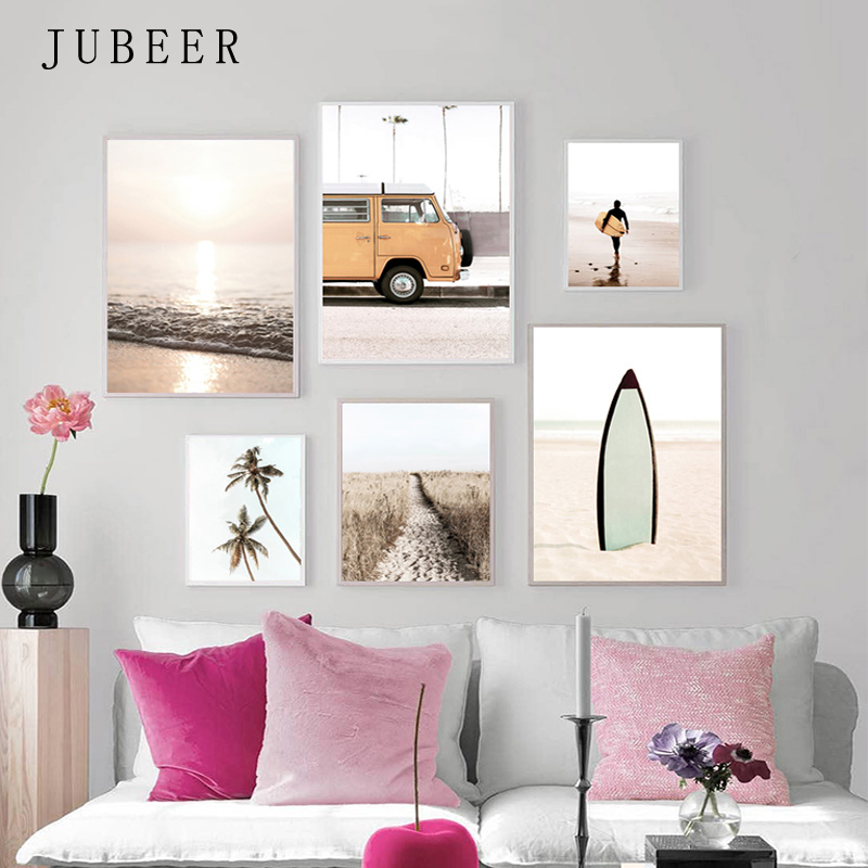 California Seaside Posters Beach Pictures for Living Room Travel Bus Canvas Painting landscape poster cuadros decoracion salon