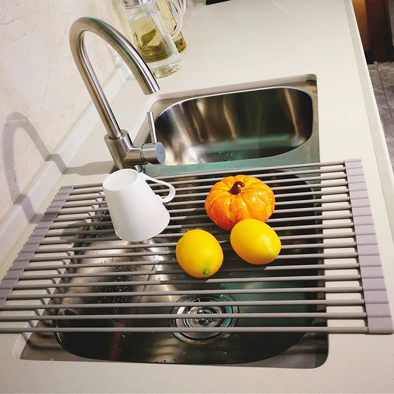 Food-grade Silicone Kitchen Washbasin Water Filter Water Rack Sink Shelf Roll Folding Pool Roll Curtain Water Rack