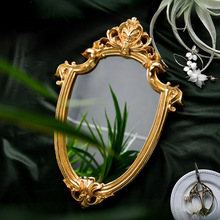 Exquisite Makeup Mirror Hanging Mirror Vintage Bathroom Mirror Gifts For Woman Lady Old Golden Embossed Hollow Mirror