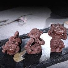 Три обезьяны суб-глина чай украшения партии полностью ручной работы маленькая озорная обезьяна украшения производители